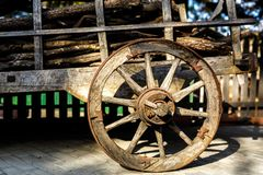 Old wooden cartwheel from close-up. Royalty Free Stock Photos