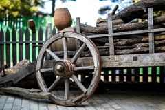 Old wooden cartwheel from close-up. Stock Image