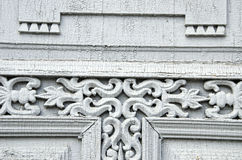 Old wooden carved door ornaments Stock Photo
