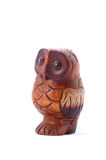 Old wooden carved Owl on white background.  Royalty Free Stock Images