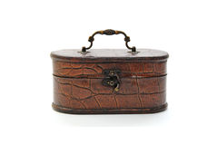 Old wooden casket. On a white background Stock Photos