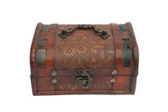Old wooden casket. On a white background Royalty Free Stock Photos