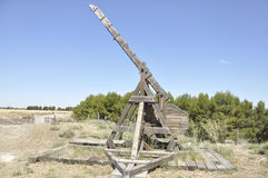 Old wooden catapult Stock Photo