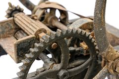 Old wooden chaff cutter. Close-up isolated on white background Royalty Free Stock Photography