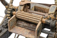 Old wooden chaff cutter. Close-up isolated on white background Royalty Free Stock Image