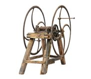 Old wooden chaff cutter. Isolated on white background Stock Photos