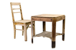 Old Wooden Chair And Table Stock Photo