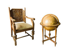 Old wooden chair and Old wooden globe Stock Image
