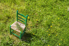 Old wooden chair outdoors Royalty Free Stock Photography