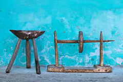 Old wooden chair and winder Stock Photography