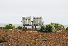 Old  Wooden Chairs. On a pebble beach surrounded by sea kale, suffolk, england Royalty Free Stock Images