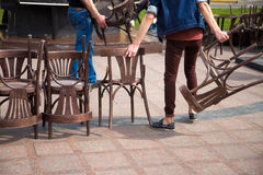 Old wooden chairs and vintage chairs Royalty Free Stock Photo
