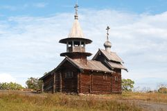 Old wooden chapel. In Russian north, Kizhi island, Lake Onega Stock Image
