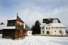 Old wooden chapel of a small Slovak village  Royalty Free Stock Images
