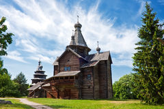 Old wooden chapel in village. Wooden church at Vitoslavitsy village, Novgotod region, Russia Royalty Free Stock Photography