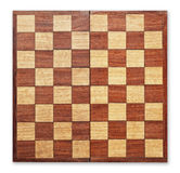 Old wooden chess board isolated. Old wooden chess board isolated, clipping path Royalty Free Stock Image