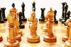 Old wooden chess Royalty Free Stock Photography