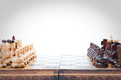 Old wooden Chess Game lineup, copy space. Chess Game lineup, white background, isolated, space for text stock images