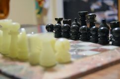 Chessboard chess figures king queen Royalty Free Stock Photography