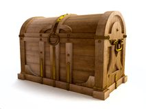 Old Wooden Chest in 3D Royalty Free Stock Photos