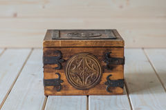 Old wooden chest stock photos