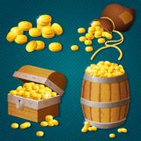 Old wooden chest, barrel, old bag with gold coins. Game style treasure vector illustration. Old wooden chest, barrel, old bag with gold coins. Game style vector illustration
