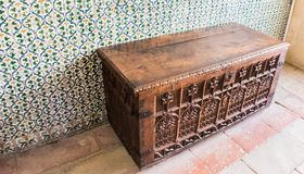 Old wooden chest in castle room. In Spain stock photos