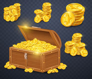 Old wooden chest with gold coins. Many treasures in game style. Stock Images