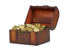 Old wooden chest with golden coins Stock Photos