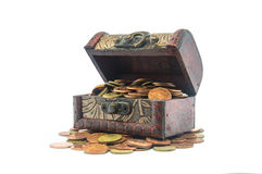 Old wooden chest with golden coins isolated Royalty Free Stock Images