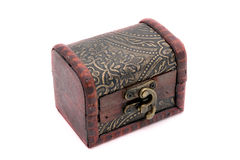 Old wooden chest with golden coins Stock Images