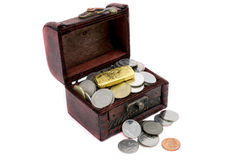 Old wooden chest with golden coins Royalty Free Stock Photo