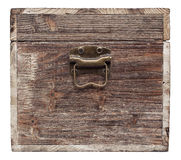 Old wooden chest is isolated on white Royalty Free Stock Photography