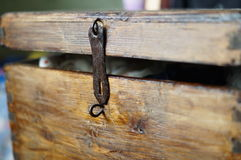 Old wooden chest keyhole ajar Royalty Free Stock Photography