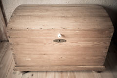 Old wooden chest like treasure box in the attic Stock Images