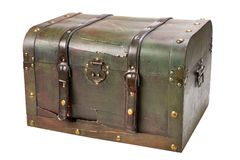 Old wooden chest with lock Stock Photo