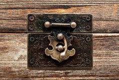 Old wooden chest with lock Royalty Free Stock Photography