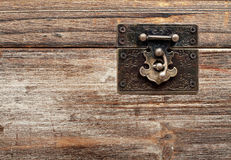 Old wooden chest with lock Stock Photos