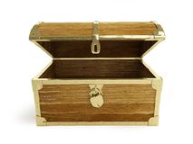 Old wooden chest open Stock Images