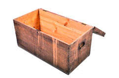 Old wooden chest open Wood background Royalty Free Stock Photo