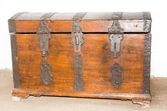 An old wooden chest in the room Stock Photos