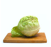 Old Wooden Chopping Board And Cabbage Royalty Free Stock Photos