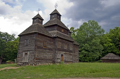 Old wooden church. Ukraine. Outdoor museum of historic architecture and household. Wooden church of xviii century royalty free stock photography