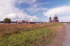Old wooden church. Old wooden temple in Russian north, Kizhi island, Lake Onega royalty free stock photo