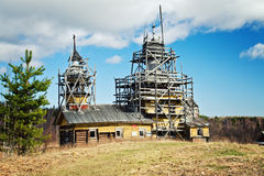 Old wooden church. Alex Church, a man of God Description Tract Kurtyaevo located 35 km from the town of Severodvinsk, Arkhangelsk region, 15 km from the White Royalty Free Stock Image