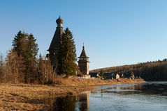 Old wooden church. Karelia and Leningrad region, Russia. Oldest wooden churches in the north. This on is in Podporozhe. Wonderful place where the God definitly royalty free stock images