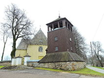 Old wooden church and belfry, Lithuania Royalty Free Stock Photos