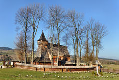 Old Wooden Church in Debno, Poland. Old Gothic wooden church of the Saint Archangel Michael in Debno, Poland. UNESCO World Heritage Stock Photo