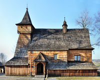 Old Wooden Church in Debno, Poland. Old medieval wooden church of the Saint Archangel Michael in Debno, Poland. UNESCO World Heritage Stock Image
