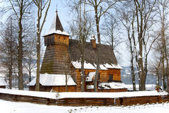 Old Wooden Church in Debno, Poland, in winter Royalty Free Stock Image